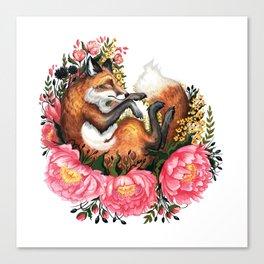Flora and Fauna Fox Canvas Print