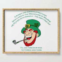 A Randy And Green Leprechaun St Patrick's Day Limerick Serving Tray