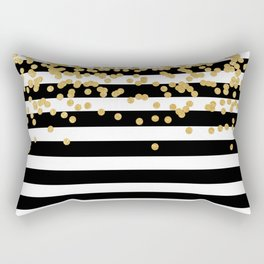Bold Black Stripes With Gold Confetti Rectangular Pillow