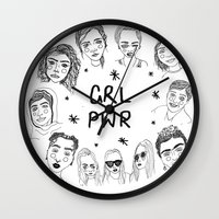 cactei Wall Clocks featuring GRLPWR by ☿ cactei ☿