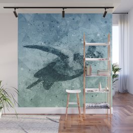 Geometric Flying Green Sea Turtle Wall Mural