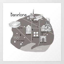 Mapping Barcelona - Grey Art Print