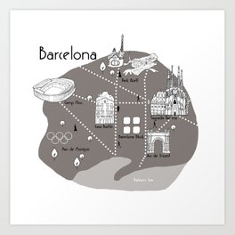 Mapping Barcelona - Grey Art Print
