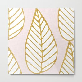 Winter Leaves Pink and Gold Metal Print