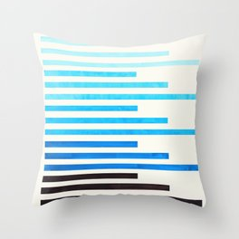 Cerulean Blue Minimalist Abstract Mid Century Modern Staggered Thin Stripes Watercolor Painting Throw Pillow