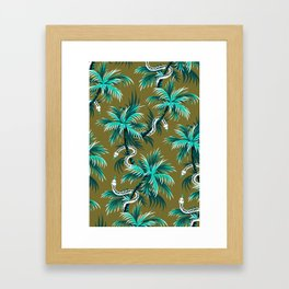 Snake Palms - Light Teal Mustard Framed Art Print