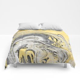 Reiko - gold grey black and white minimal marble abstract ink japanese modern monoprint art  Comforters