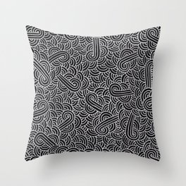 Black and faux silver swirls doodles Throw Pillow