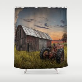 Abandoned Farmall Tractor and Barn Shower Curtain