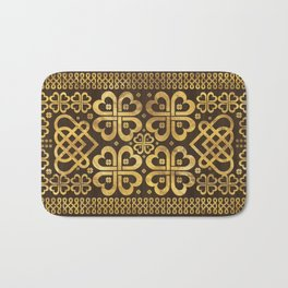 Shamrock Four-leaf Clover Wood and Gold Bath Mat