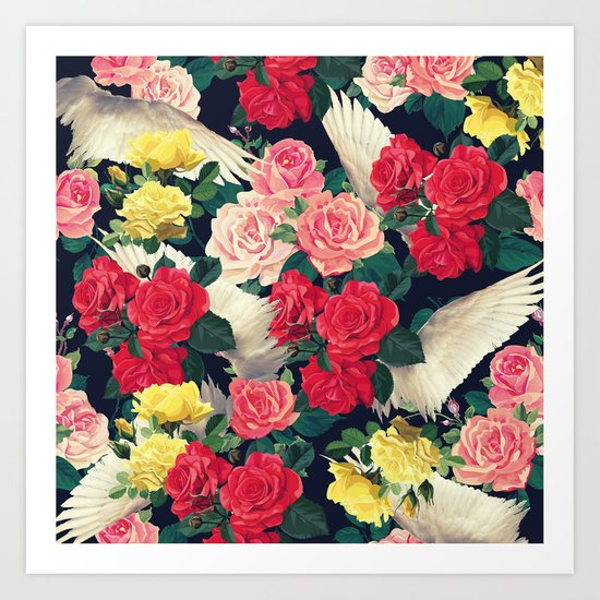 roses wings, tropical  Art Print