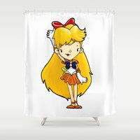 sailor venus Shower Curtains featuring Sailor Scout Sailor Venus by Space Bat designs