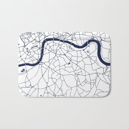 London White on Navy Street Map Bath Mat