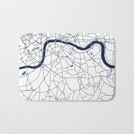 London White on Navy Street Map Bath Mat