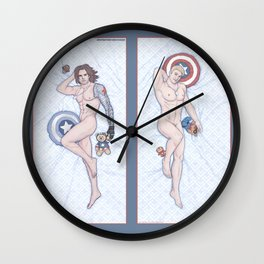 Steve and Bucky Heroic Nude Pinups Wall Clock