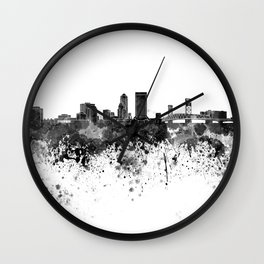 Jacksonville skyline in black watercolor Wall Clock