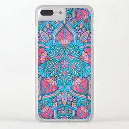 Pink and Turquoise Flower Mandala Clear iPhone Case