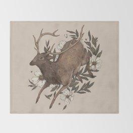 Floral Elk Throw Blanket