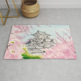 Himeji Castle , Art Watercolor Painting print by Suisai Genki , cherry blossom , Japanese Castle Rug