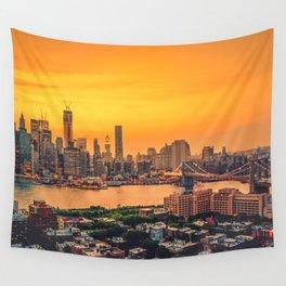 New York City Skyline with Brooklyn Bridge Wall Tapestry