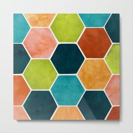 Colorful Terra Cotta - hexagon tile pattern Metal Print
