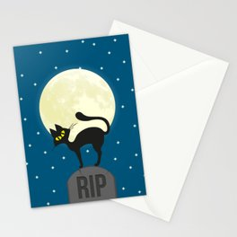 Black Cat In A Cemetery Stationery Cards