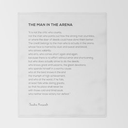 The Man In The Arena Theodore Roosevelt Quote Throw Blanket