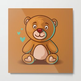 Cute Cartoon Teddy Bear Metal Print