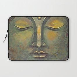 Rusty Golden Buddha Face - Zen and Balance Watercolor Painting Laptop Sleeve