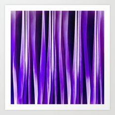 Royal Purple, Lilac and Silver Stripy Pattern Art Print