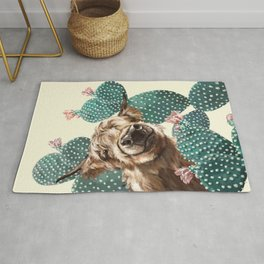 Sneaky Highland Cow and Cactus in yellow Rug