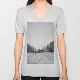 Vintage Canal Street New Orleans Streetcars 1907 Unisex V-Neck