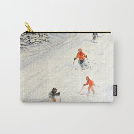 Skiing Family On The Slopes Carry-All Pouch