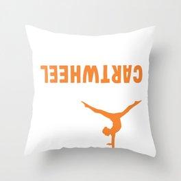 Funny Gymnastics Girl Workout Exercise Cartwheel Throw Pillow
