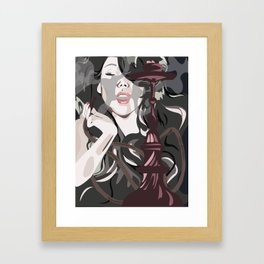 Beautiful woman smoking a hookah and smoke issues from the mouth Framed Art Print