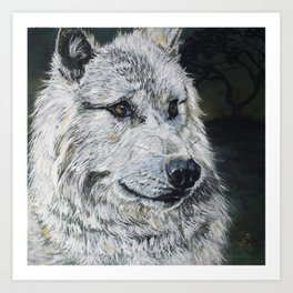 Spirit-White Wolf Art Print
