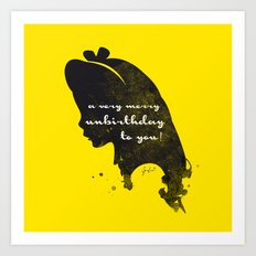 Unbirthday – Alice Silhouette Quote Art Print