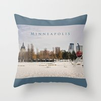 minneapolis Throw Pillows featuring Minneapolis by Kimberley Britt