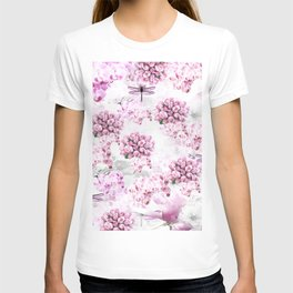 ORCHIDS ROSES MAGNOLIAS and Dragonflies T-shirt