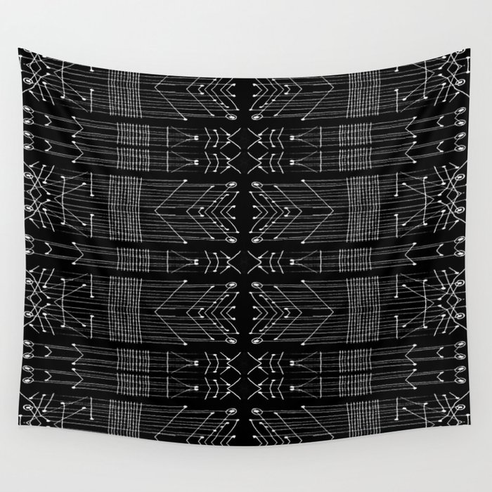 Black and White Tribal Wall Tapestry