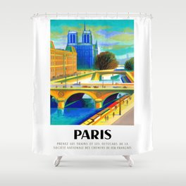 1957 Paris Notre Dame Cathedral French Travel Poster Shower Curtain