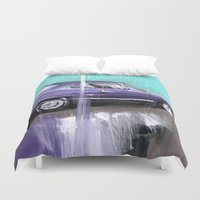muscle Duvet Covers featuring The purple muscle car by mystudio69