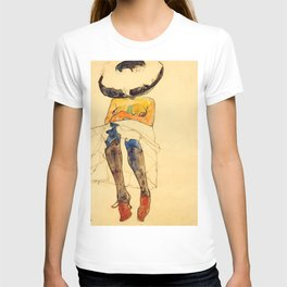 "Egon Schiele ""Seated semi-nude with hat and purple stockings"" T-shirt"