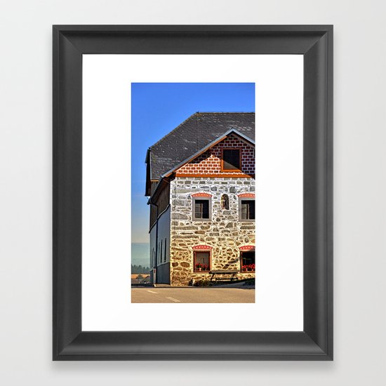 Traditional farm with beautiful front | architectural photography Framed Art Print