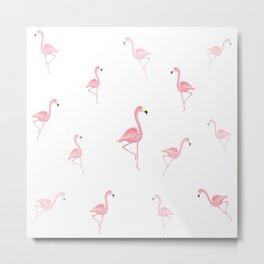 Tossed Flamingos Metal Print