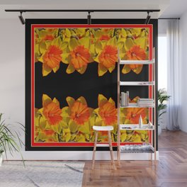 Ebony Black Night Golden Dafffodils Red Accents Wall Mural