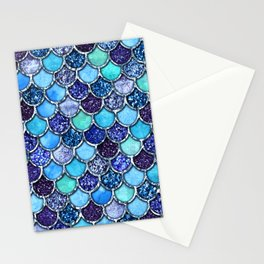 Colorful Teal & Blue Watercolor & Glitter Mermaid Scales Stationery Cards