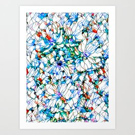Glass stain mosaic 3 floral - by Brian Vegas Art Print