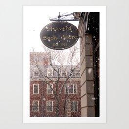 Snowy Harvard Square Art Print