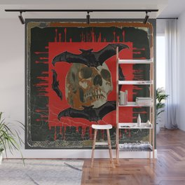 GRUNGY HALLOWEEN BAT INFESTED HAUNTED SKULL Wall Mural